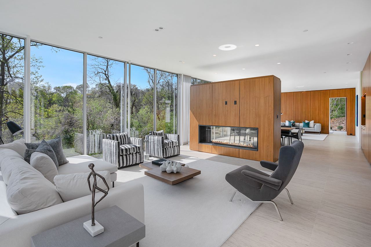 Aerial view of tall living room
